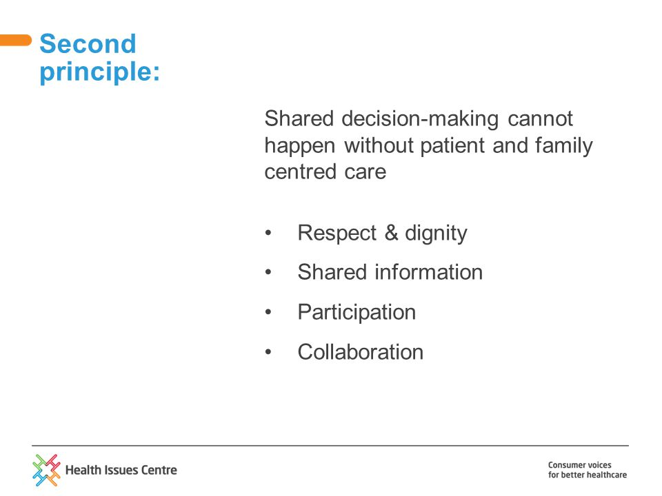 Shared decision-making cannot happen without patient and family centred care Respect & dignity Shared information Participation Collaboration Second p