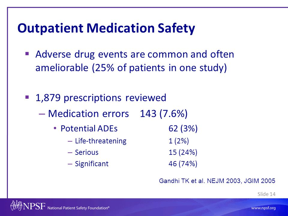 Slide 14 Outpatient Medication Safety  Adverse drug events are common and often ameliorable (25% of patients in one study)  1,879 prescriptions revi