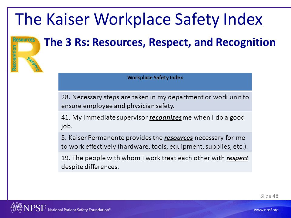 Slide 48 The Kaiser Workplace Safety Index The 3 Rs: Resources, Respect, and Recognition Workplace Safety Index 28. Necessary steps are taken in my de