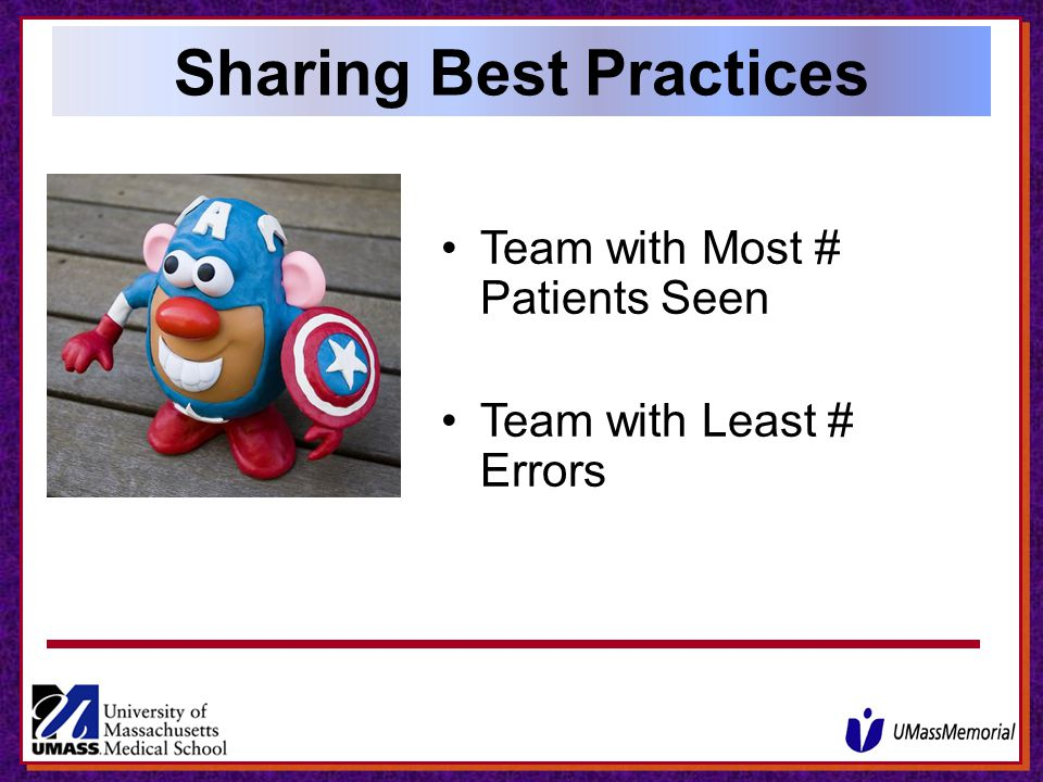Sharing Best Practices Team with Most # Patients Seen Team with Least # Errors