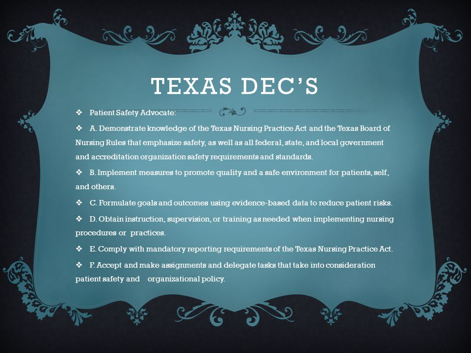 TEXAS NURSING PRACTICE ACT AND TEXAS BOARD OF NURSING (BON)RULES THAT EMPHASIZE SAFETY  http://www.bne.state.tx.us/ http://www.bne.state.tx.us/