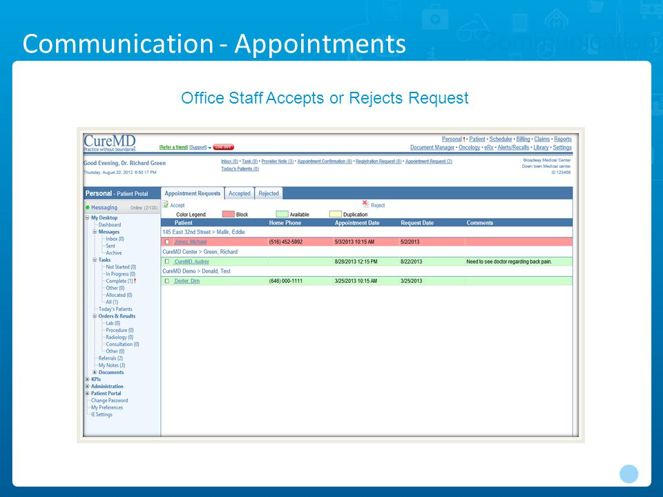 Communication Office Staff Accepts or Rejects Request Communication - Appointments