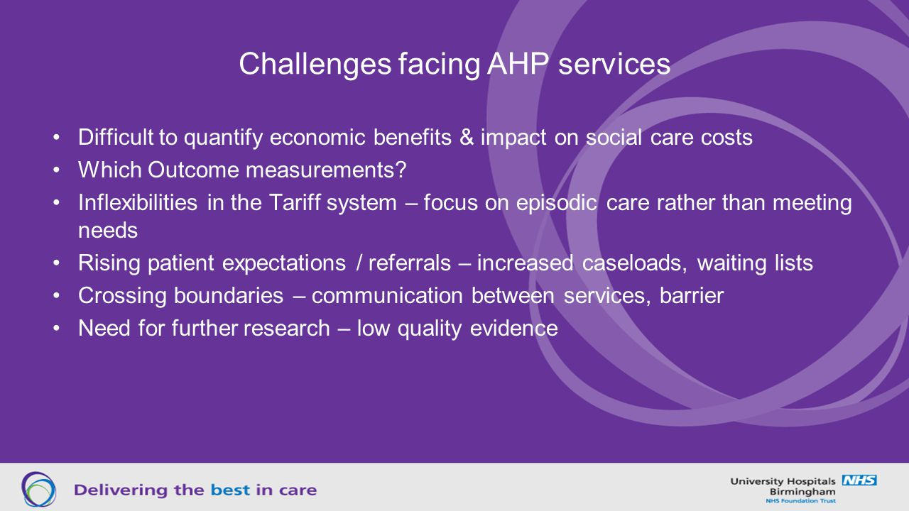 Challenges facing AHP services Difficult to quantify economic benefits & impact on social care costs Which Outcome measurements.