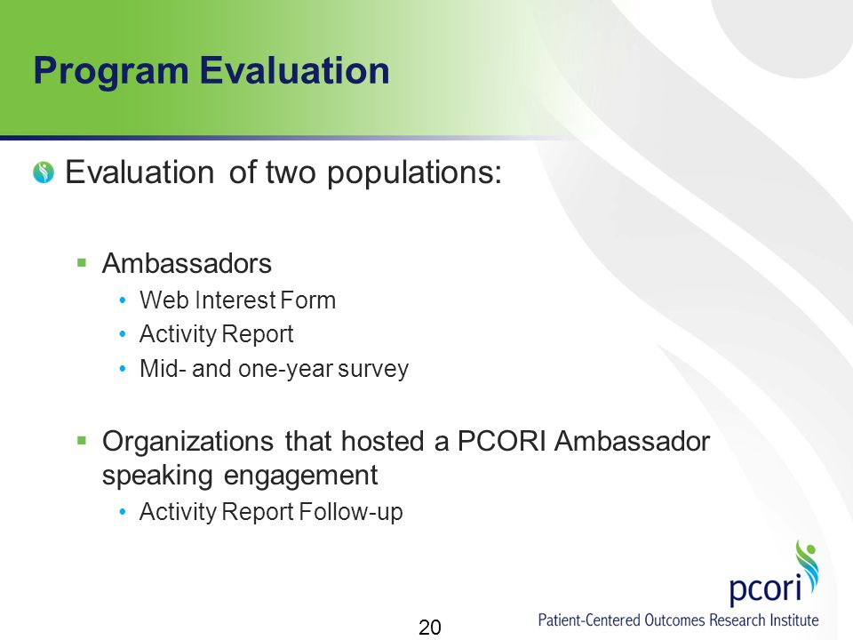 Program Evaluation Evaluation of two populations:  Ambassadors Web Interest Form Activity Report Mid- and one-year survey  Organizations that hosted