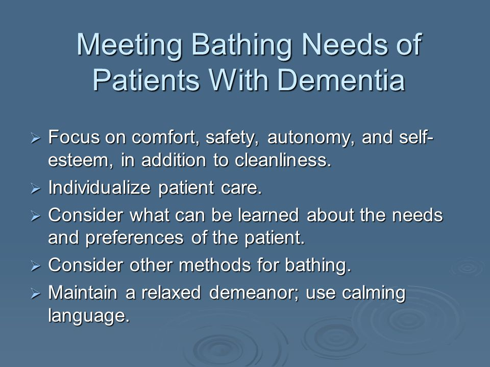 Assessments Made When Giving a Bed Bath  Patient's knowledge of hygiene practices and bathing preferences  Frequency, time of day, type of hygiene products used  Any physical activity limitations  Patient's ability to bathe himself or herself  Patient's skin for dryness, redness, or areas of breakdown