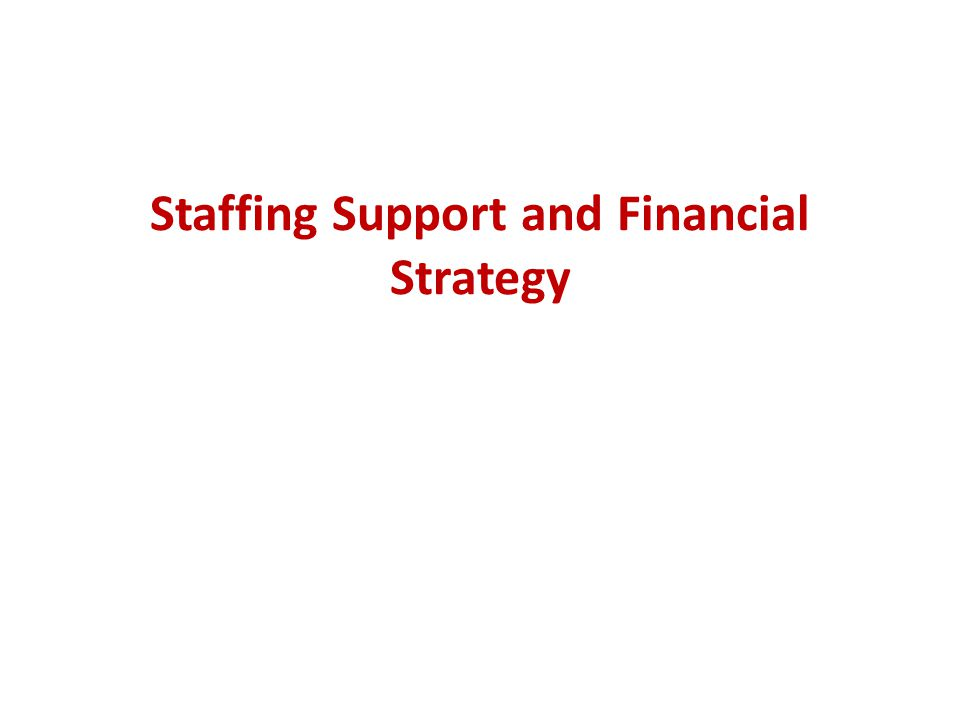 Staffing Support and Financial Strategy