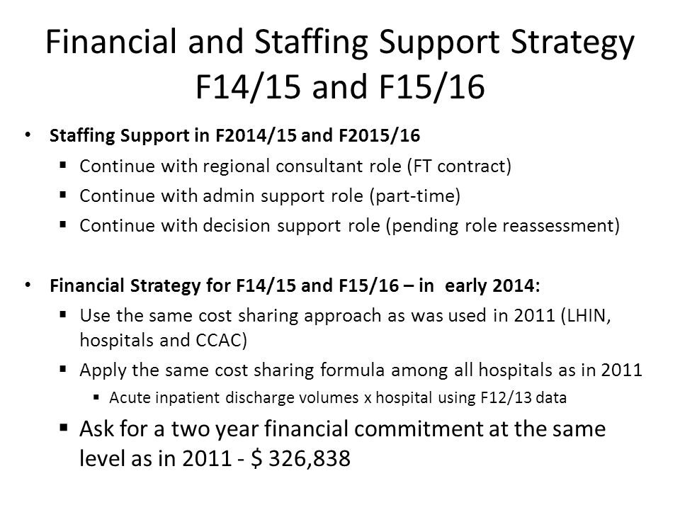 Financial and Staffing Support Strategy F14/15 and F15/16 Staffing Support in F2014/15 and F2015/16  Continue with regional consultant role (FT contr