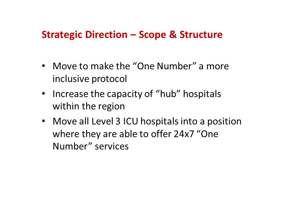 Current Organizational Structure South West LHIN CEO Leadership Forum - CEO lead for One Number One Number Steering Committee - Chair – CEO lead One Number Operations Group - Chair – Regional Consultant Regional Physician Leaders & Chiefs of Staff Group - Chair – Regional Consultant One Number Evaluation Committee Chair – Regional Consultant