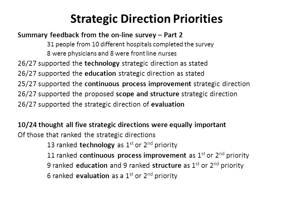 Strategic Direction Priorities Summary feedback from the on-line survey – Part 2 31 people from 10 different hospitals completed the survey 8 were phy