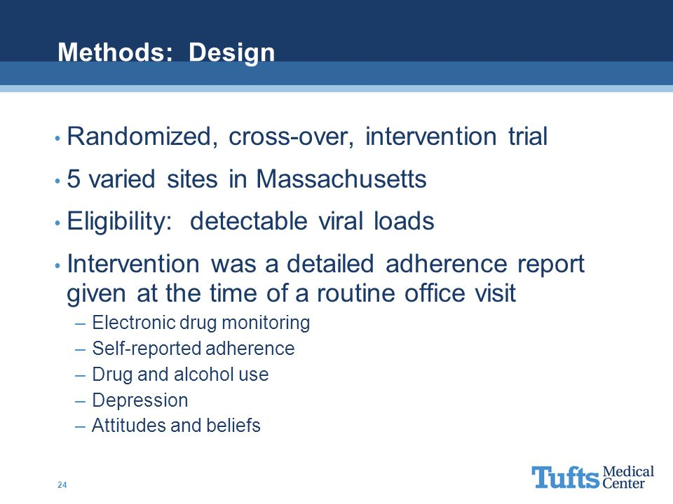 Methods: Design Randomized, cross-over, intervention trial 5 varied sites in Massachusetts Eligibility: detectable viral loads Intervention was a detailed adherence report given at the time of a routine office visit –Electronic drug monitoring –Self-reported adherence –Drug and alcohol use –Depression –Attitudes and beliefs 24