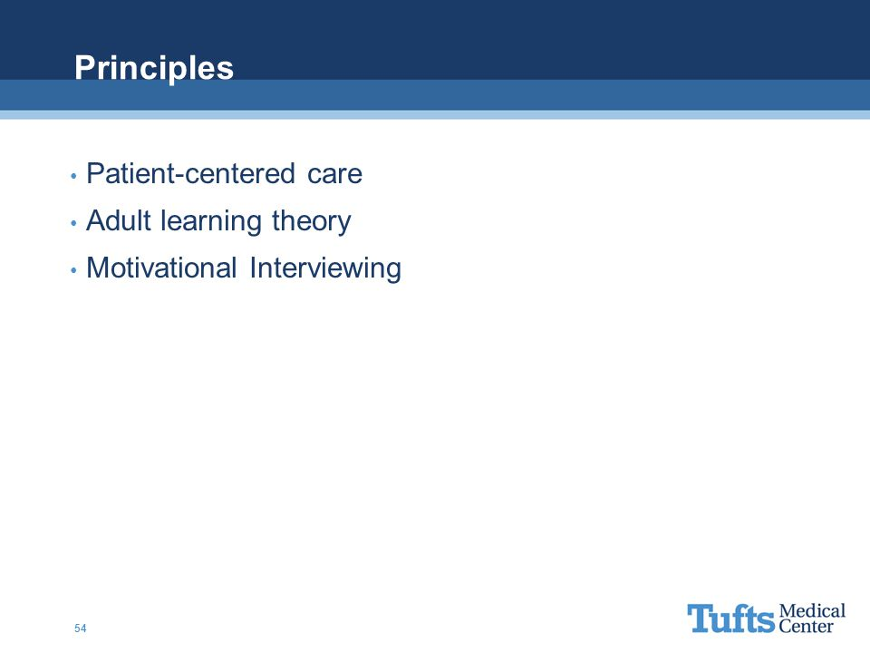 Principles Patient-centered care Adult learning theory Motivational Interviewing 54