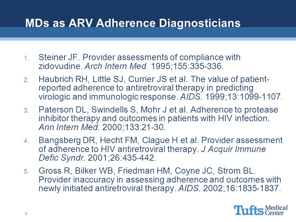 MDs as ARV Adherence Diagnosticians 1.Steiner JF.