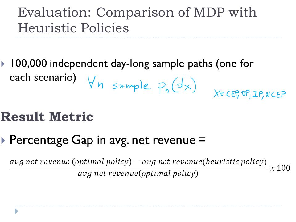 Evaluation: Comparison of MDP with Heuristic Policies Result Metric