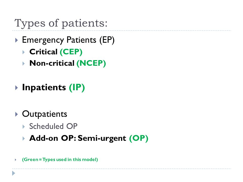 Types of patients:  Emergency Patients (EP)  Critical (CEP)  Non-critical (NCEP)  Inpatients (IP)  Outpatients  Scheduled OP  Add-on OP: Semi-urgent (OP)  (Green = Types used in this model)