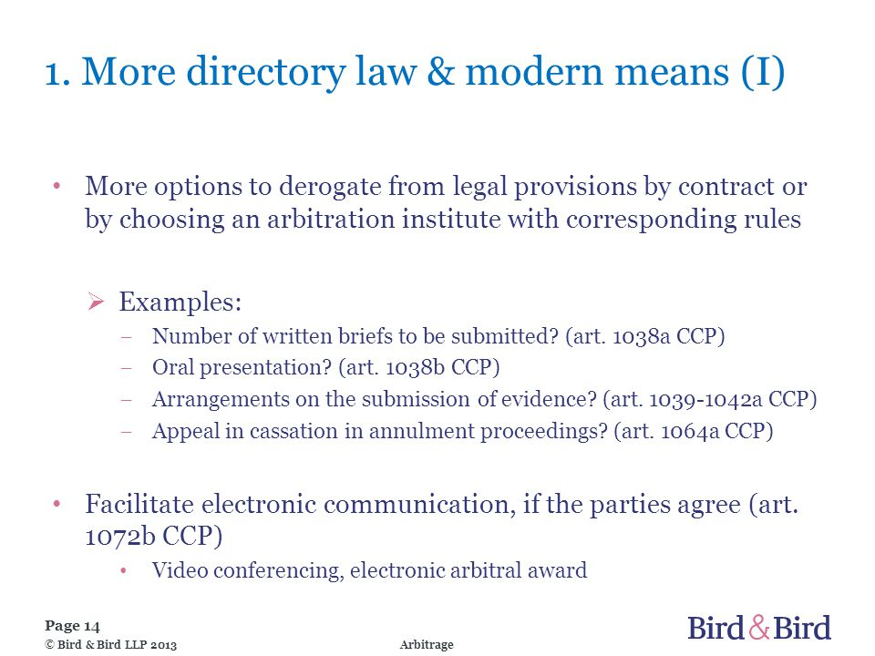 Page 14 Arbitrage© Bird & Bird LLP 2013 1.