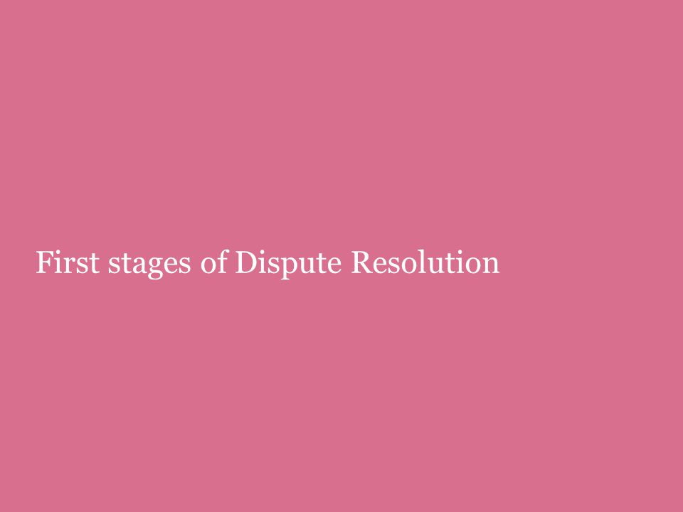First stages of Dispute Resolution