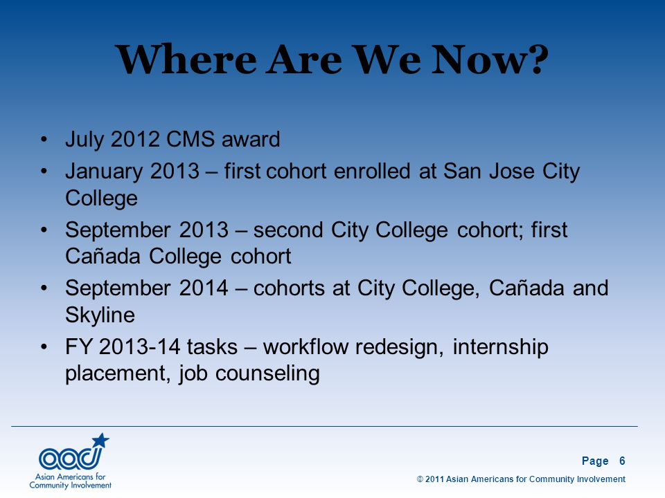 © 2011 Asian Americans for Community Involvement Page6 July 2012 CMS award January 2013 – first cohort enrolled at San Jose City College September 2013 – second City College cohort; first Cañada College cohort September 2014 – cohorts at City College, Cañada and Skyline FY 2013-14 tasks – workflow redesign, internship placement, job counseling Where Are We Now
