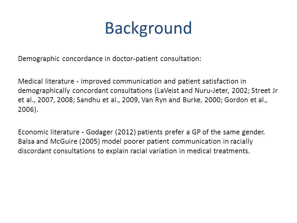 Background Demographic concordance in doctor-patient consultation: Medical literature - improved communication and patient satisfaction in demographically concordant consultations (LaVeist and Nuru-Jeter, 2002; Street Jr et al., 2007, 2008; Sandhu et al., 2009, Van Ryn and Burke, 2000; Gordon et al., 2006).
