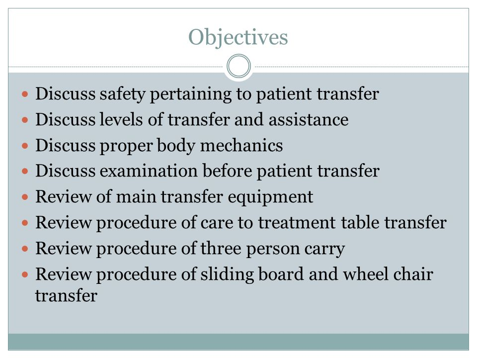 Which is NOT an important factor for safe transfers.
