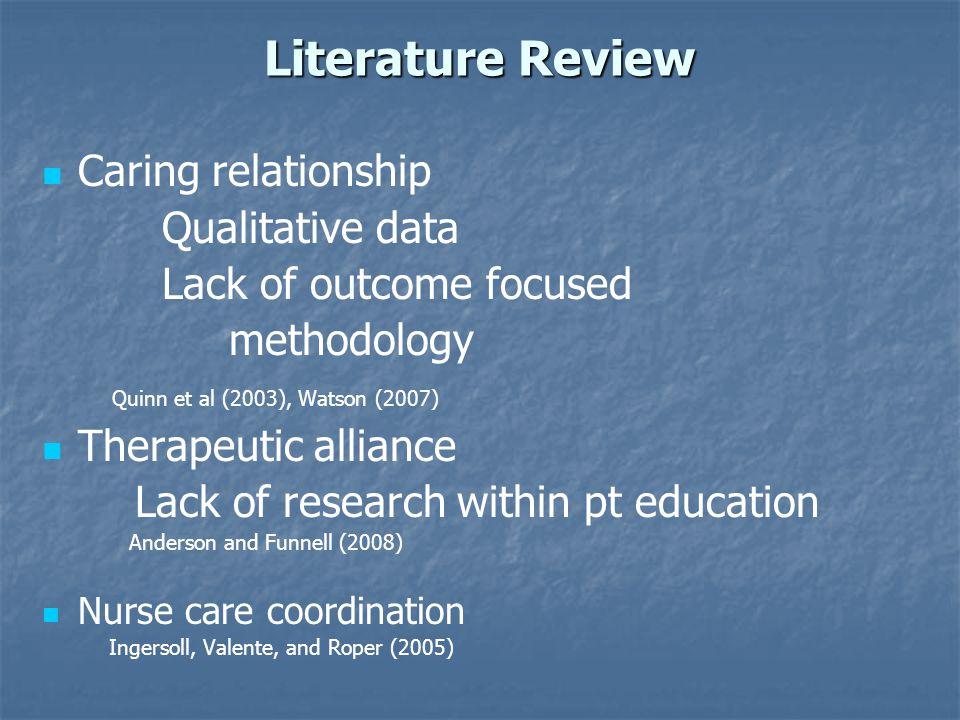 Literature Review Caring relationship Qualitative data Lack of outcome focused methodology Quinn et al (2003), Watson (2007) Therapeutic alliance Lack