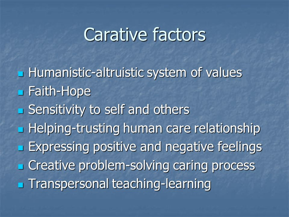 Carative factors Humanistic-altruistic system of values Humanistic-altruistic system of values Faith-Hope Faith-Hope Sensitivity to self and others Sensitivity to self and others Helping-trusting human care relationship Helping-trusting human care relationship Expressing positive and negative feelings Expressing positive and negative feelings Creative problem-solving caring process Creative problem-solving caring process Transpersonal teaching-learning Transpersonal teaching-learning