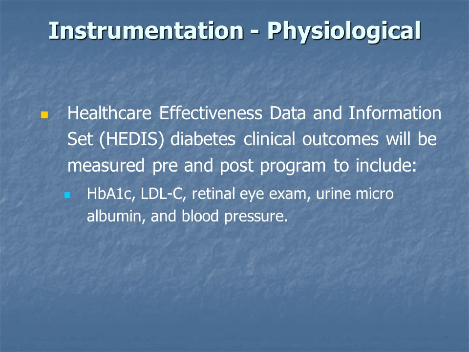 Instrumentation - Physiological Healthcare Effectiveness Data and Information Set (HEDIS) diabetes clinical outcomes will be measured pre and post pro