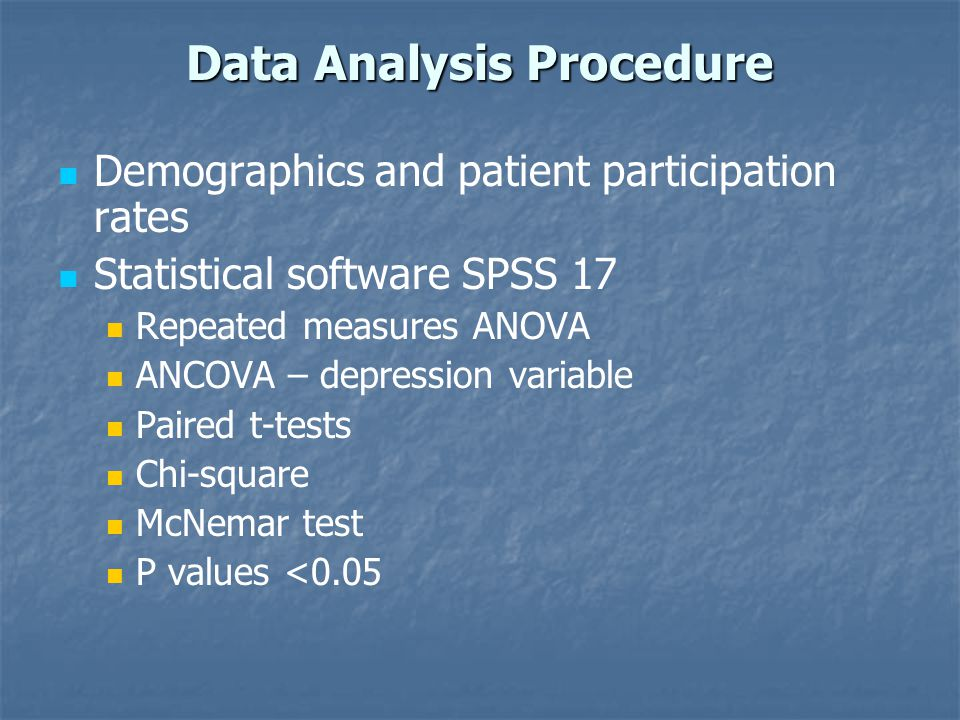 Data Analysis Procedure Demographics and patient participation rates Statistical software SPSS 17 Repeated measures ANOVA ANCOVA – depression variable