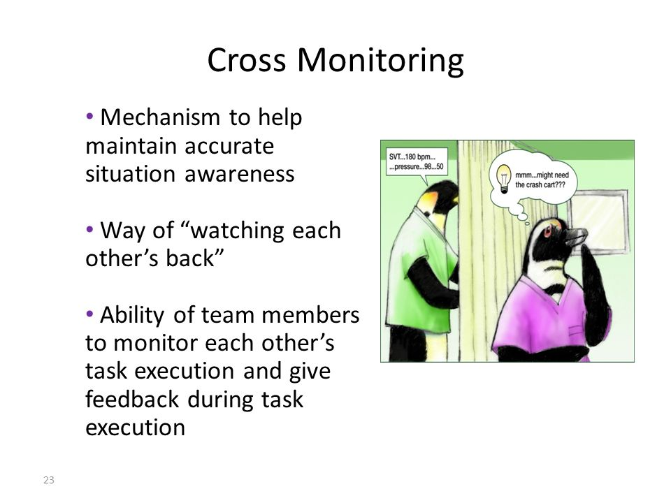 23 Cross Monitoring Mechanism to help maintain accurate situation awareness Way of watching each other's back Ability of team members to monitor each other's task execution and give feedback during task execution