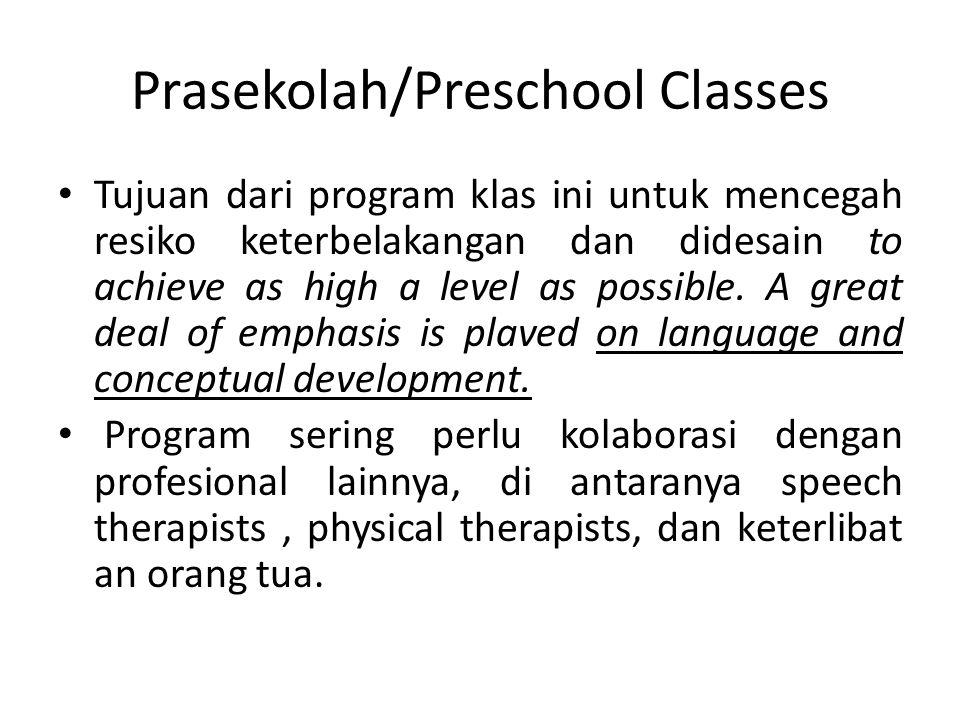 Prasekolah/Preschool Classes Tujuan dari program klas ini untuk mencegah resiko keterbelakangan dan didesain to achieve as high a level as possible.