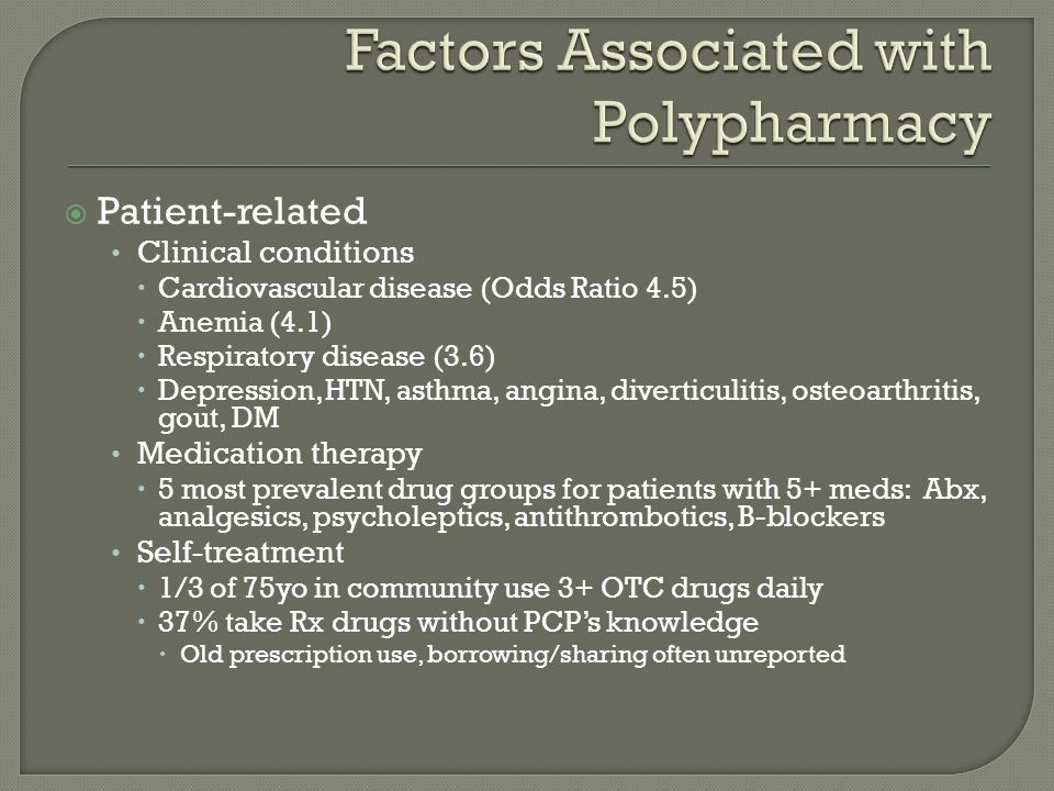  Patient-related Clinical conditions  Cardiovascular disease (Odds Ratio 4.5)  Anemia (4.1)  Respiratory disease (3.6)  Depression, HTN, asthma, angina, diverticulitis, osteoarthritis, gout, DM Medication therapy  5 most prevalent drug groups for patients with 5+ meds: Abx, analgesics, psycholeptics, antithrombotics, B-blockers Self-treatment  1/3 of 75yo in community use 3+ OTC drugs daily  37% take Rx drugs without PCP's knowledge  Old prescription use, borrowing/sharing often unreported