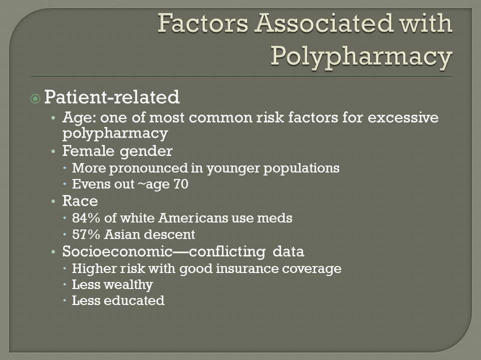  Patient-related Age: one of most common risk factors for excessive polypharmacy Female gender  More pronounced in younger populations  Evens out ~age 70 Race  84% of white Americans use meds  57% Asian descent Socioeconomic—conflicting data  Higher risk with good insurance coverage  Less wealthy  Less educated