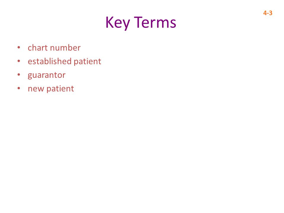Key Terms chart number established patient guarantor new patient 4-3