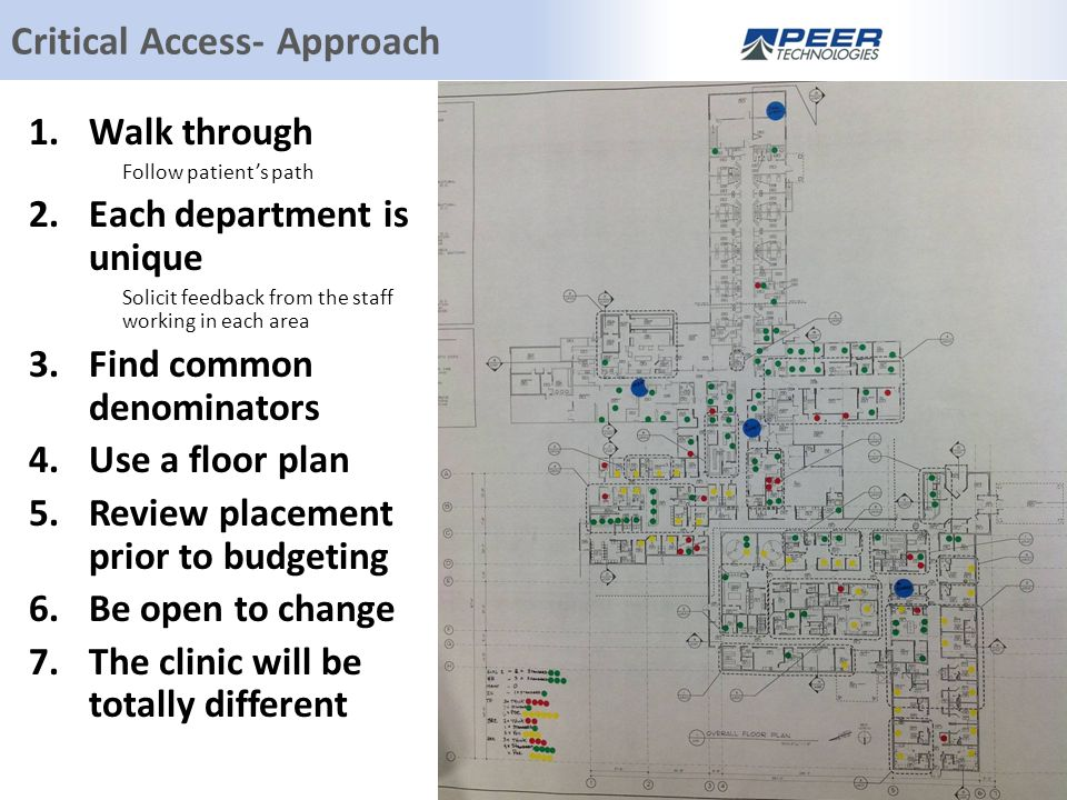 Critical Access- Approach 1.Walk through Follow patient's path 2.Each department is unique Solicit feedback from the staff working in each area 3.Find common denominators 4.Use a floor plan 5.Review placement prior to budgeting 6.Be open to change 7.The clinic will be totally different