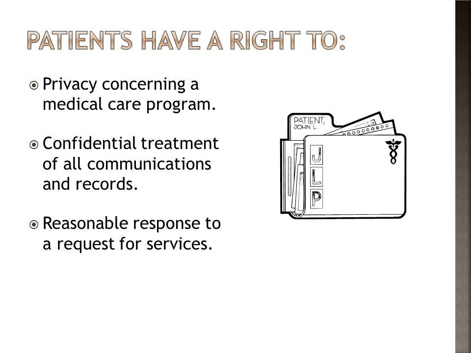  Privacy concerning a medical care program.