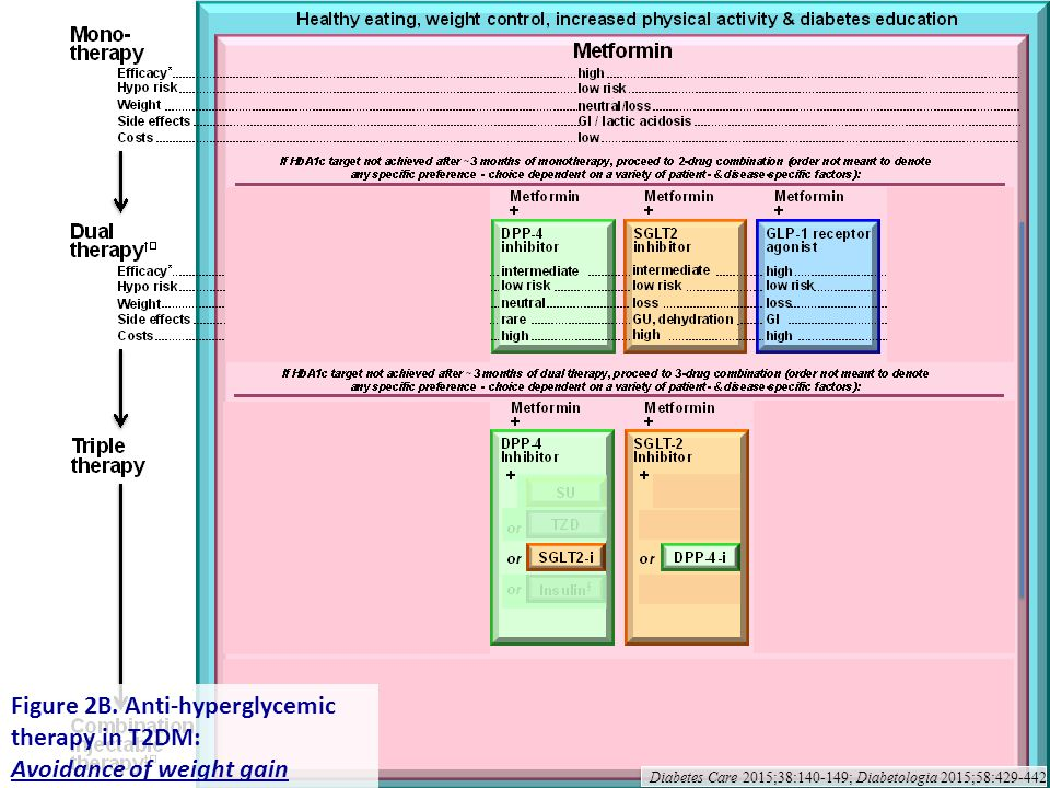 Figure 2B. Anti-hyperglycemic therapy in T2DM: Avoidance of weight gain