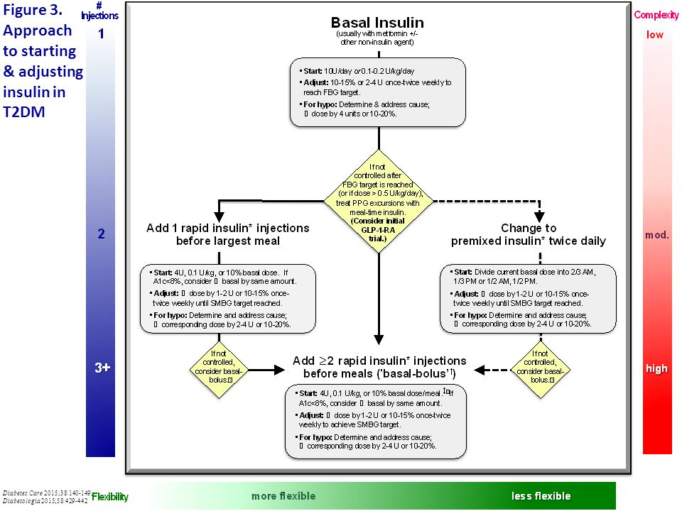 Figure 3. Approach to starting & adjusting insulin in T2DM Diabetes Care 2015;38:140-149; Diabetologia 2015;58:429-442