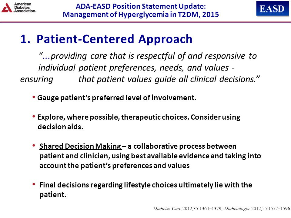 1.Patient-Centered Approach ...providing care that is respectful of and responsive to individual patient preferences, needs, and values - ensuring that patient values guide all clinical decisions. Gauge patient's preferred level of involvement.