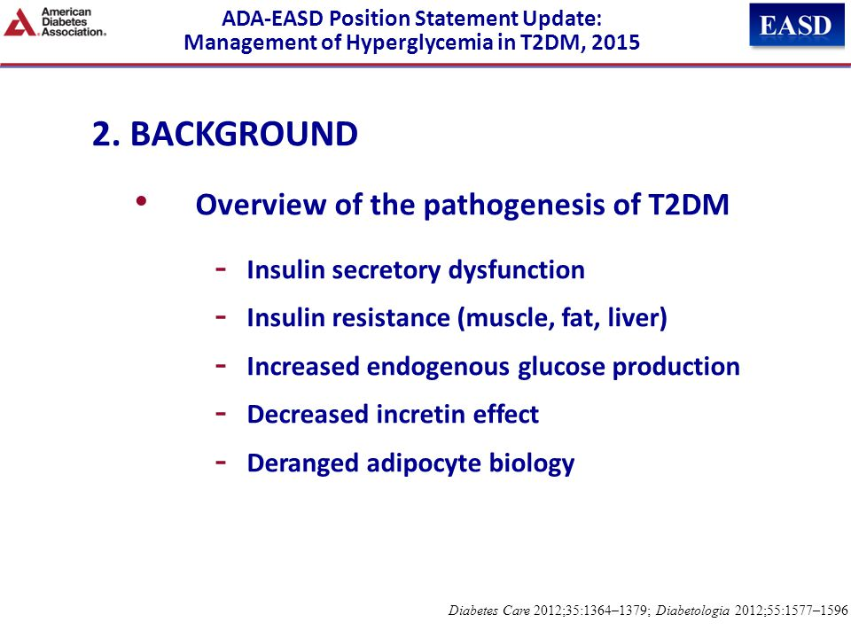 2. BACKGROUND Overview of the pathogenesis of T2DM - Insulin secretory dysfunction - Insulin resistance (muscle, fat, liver) - Increased endogenous gl