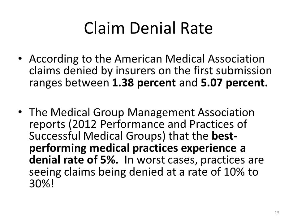 Claim Denial Rate According to the American Medical Association claims denied by insurers on the first submission ranges between 1.38 percent and 5.07 percent.