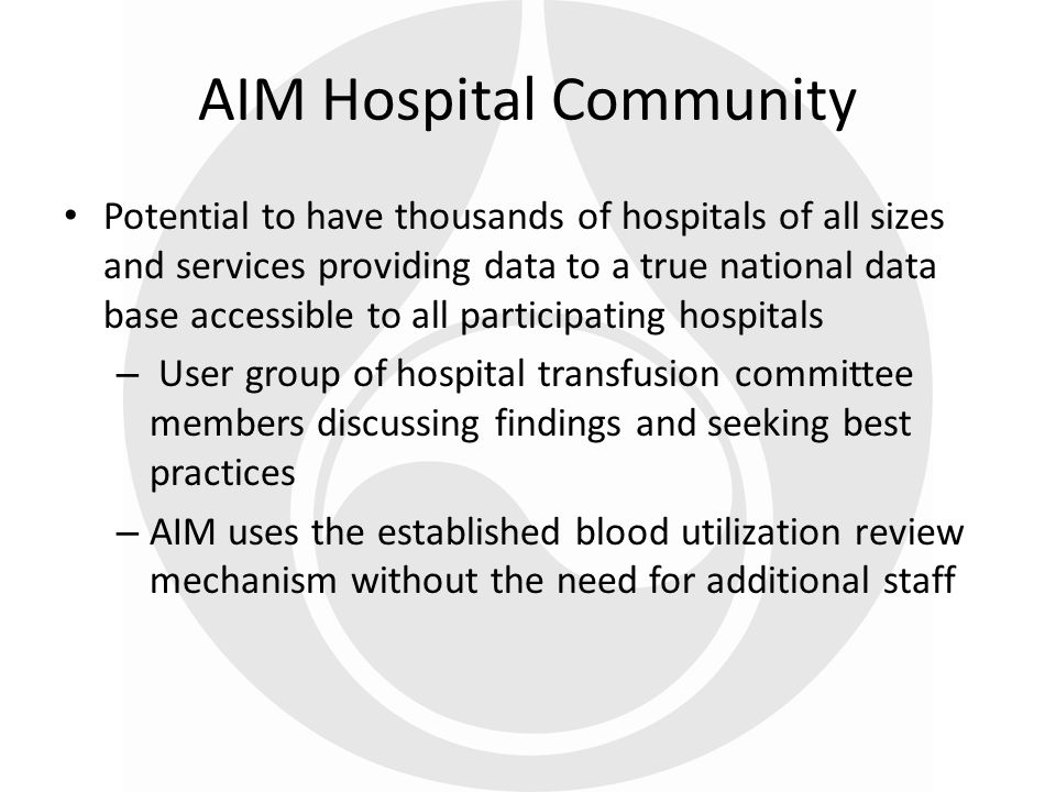 38 Potential to have thousands of hospitals of all sizes and services providing data to a true national data base accessible to all participating hosp