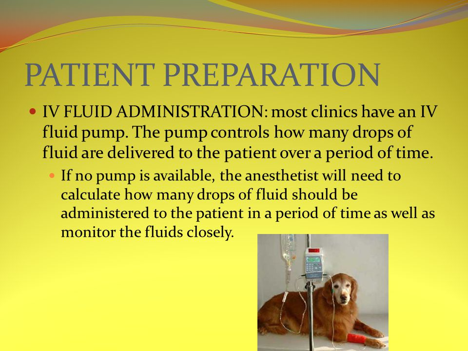 PATIENT PREPARATION IV FLUID ADMINISTRATION: most clinics have an IV fluid pump. The pump controls how many drops of fluid are delivered to the patien