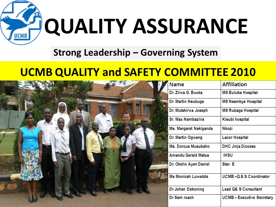 QUALITY ASSURANCE NameAffiliation Dr. Ziiwa G. BuukaMS Buluba Hospital Dr.