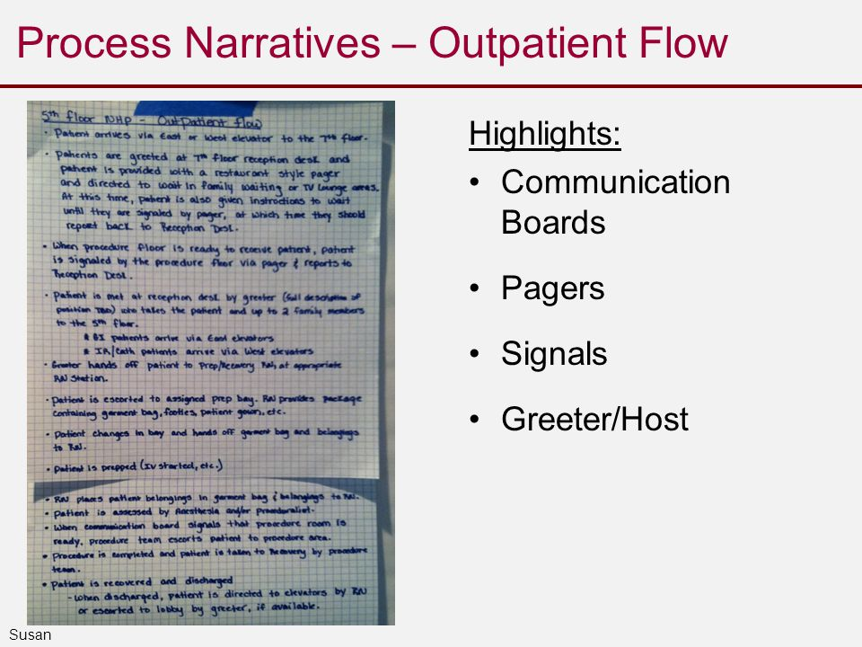Process Narratives – Outpatient Flow Highlights: Communication Boards Pagers Signals Greeter/Host Susan