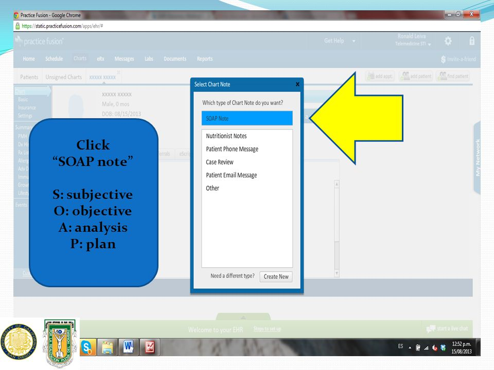 """Click """"SOAP note"""" S: subjective O: objective A: analysis P: plan"""