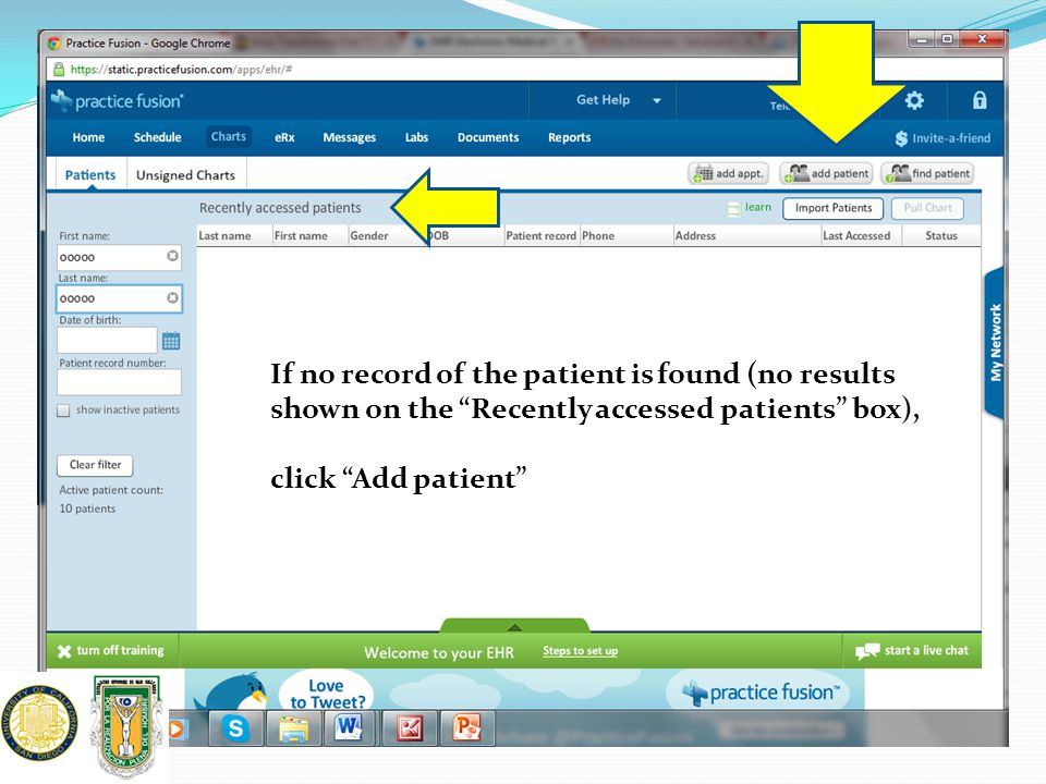 """If no record of the patient is found (no results shown on the """"Recently accessed patients"""" box), click """"Add patient"""""""