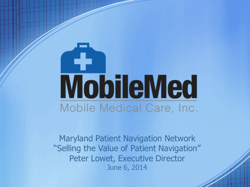 MobileMed Overview Founded in 1968, MobileMed is a nonprofit primary care provider serving 5,500 low-income, multi- cultural, uninsured or underinsured Montgomery County residents.