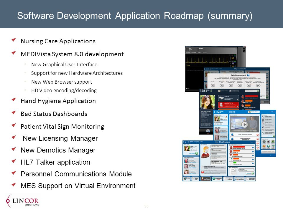 30 Nursing Care Applications MEDIVista System 8.0 development New Graphical User Interface Support for new Hardware Architectures New Web Browser support HD Video encoding/decoding Hand Hygiene Application Bed Status Dashboards Patient Vital Sign Monitoring New Licensing Manager New Demotics Manager HL7 Talker application Personnel Communications Module MES Support on Virtual Environment Software Development Application Roadmap (summary)