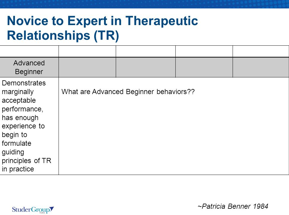 Novice to Expert in Therapeutic Relationships (TR) Advanced Beginner Demonstrates marginally acceptable performance, has enough experience to begin to formulate guiding principles of TR in practice What are Advanced Beginner behaviors .