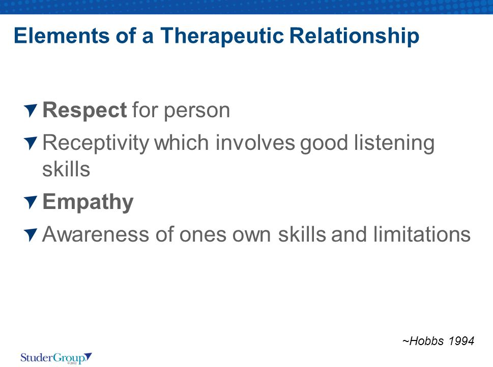 Elements of a Therapeutic Relationship Respect for person Receptivity which involves good listening skills Empathy Awareness of ones own skills and limitations ~Hobbs 1994
