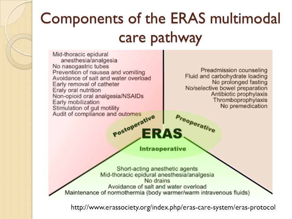 Components of the ERAS multimodal care pathway http://www.erassociety.org/index.php/eras-care-system/eras-protocol